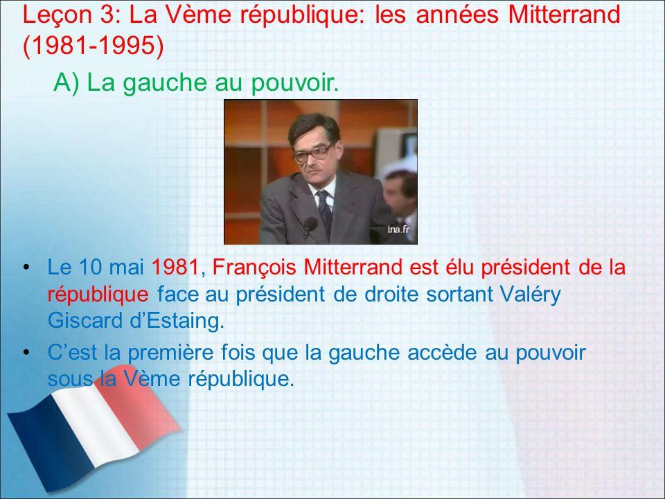 Leçon 3: La Vème république: les années Mitterrand (1981-1995)