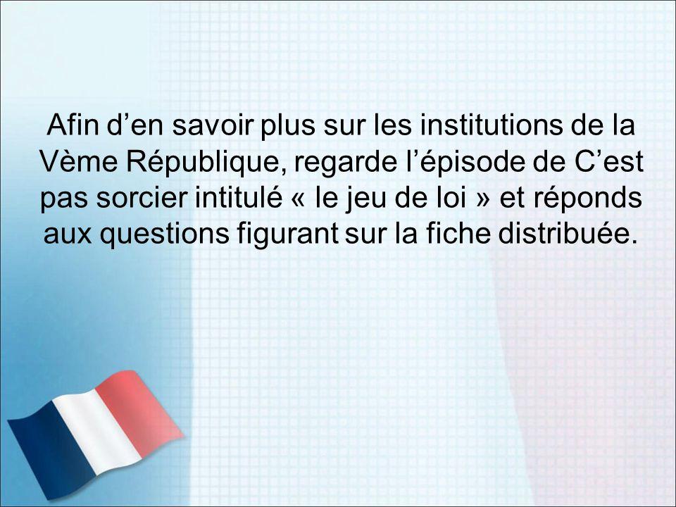 Afin d'en savoir plus sur les institutions de la Vème République, regarde l'épisode de C'est pas sorcier intitulé « le jeu de loi » et réponds aux questions figurant sur la fiche distribuée.