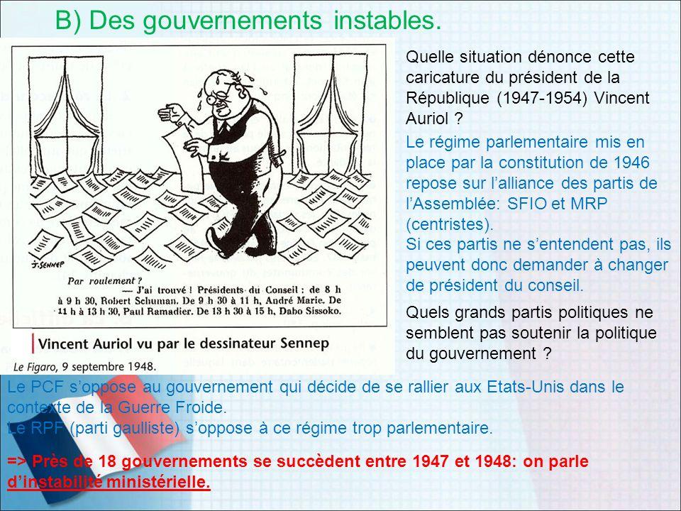 B) Des gouvernements instables.