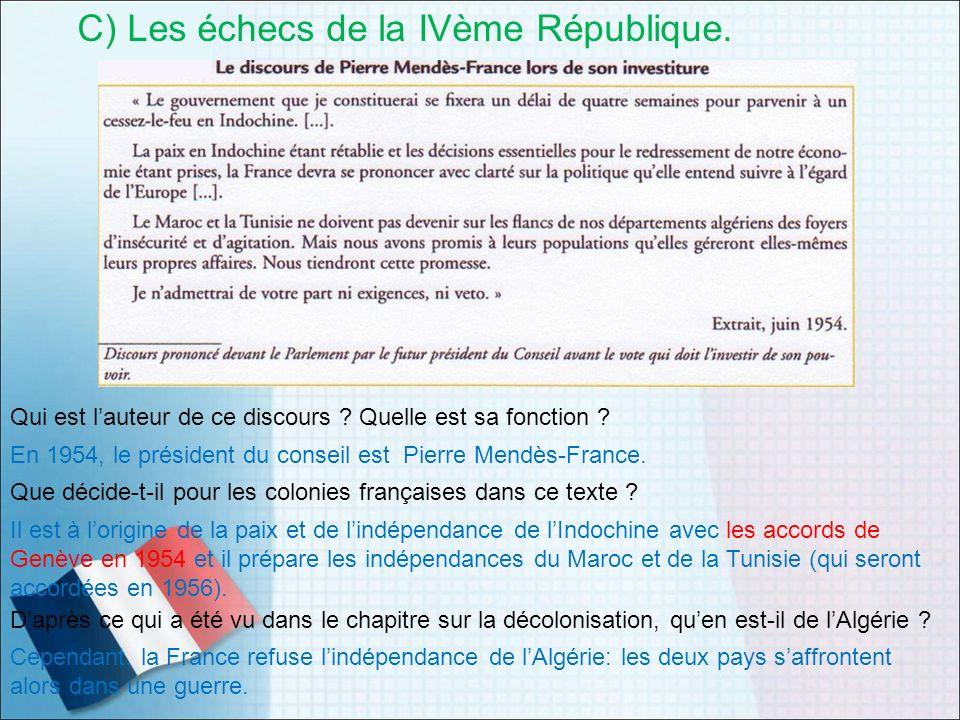 C) Les échecs de la IVème République.