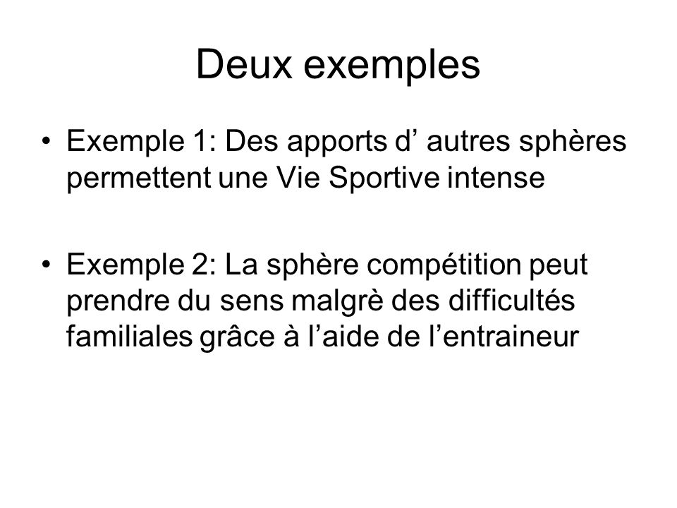 Deux exemples Exemple 1: Des apports d' autres sphères permettent une Vie Sportive intense.