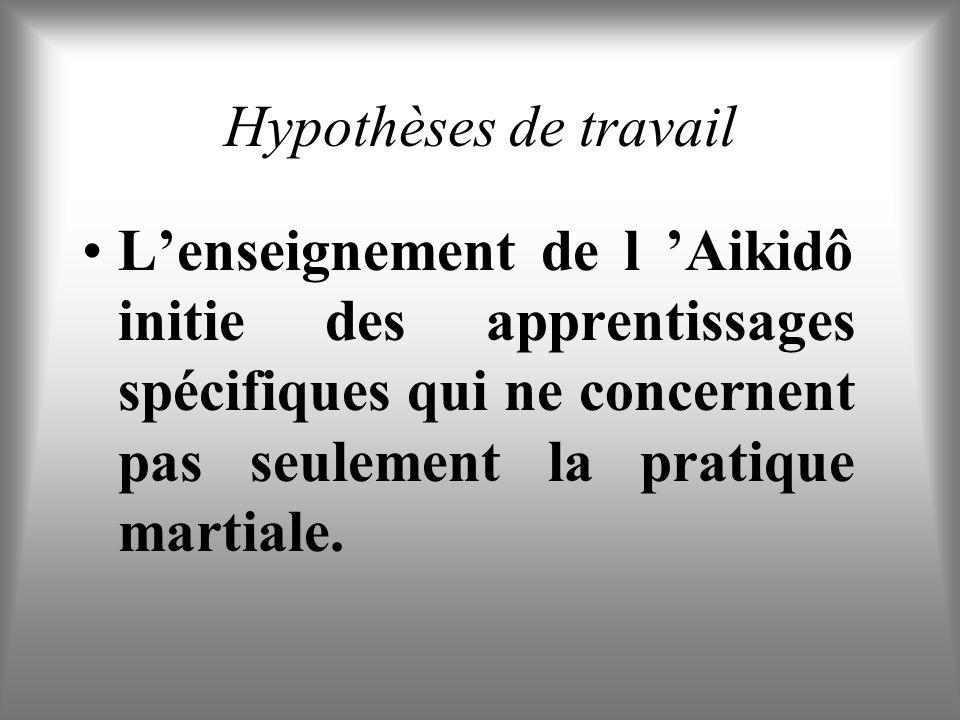 Hypothèses de travail L'enseignement de l 'Aikidô initie des apprentissages spécifiques qui ne concernent pas seulement la pratique martiale.