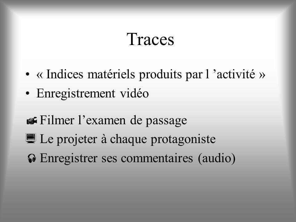 Traces « Indices matériels produits par l 'activité »