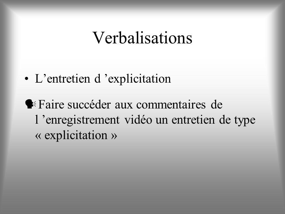 Verbalisations L'entretien d 'explicitation