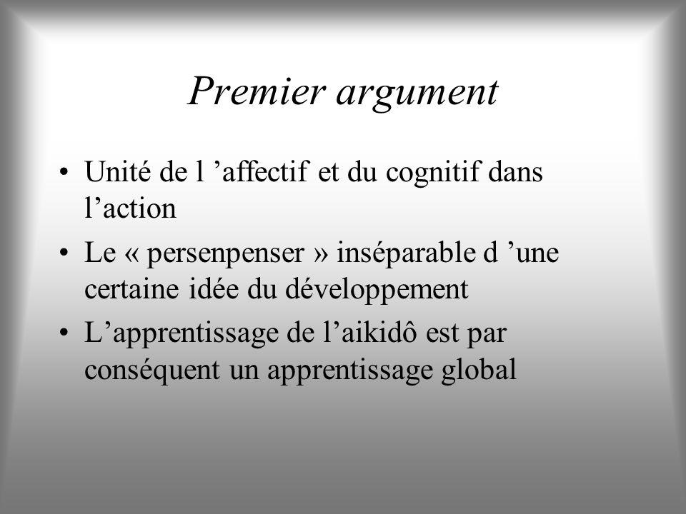 Premier argument Unité de l 'affectif et du cognitif dans l'action