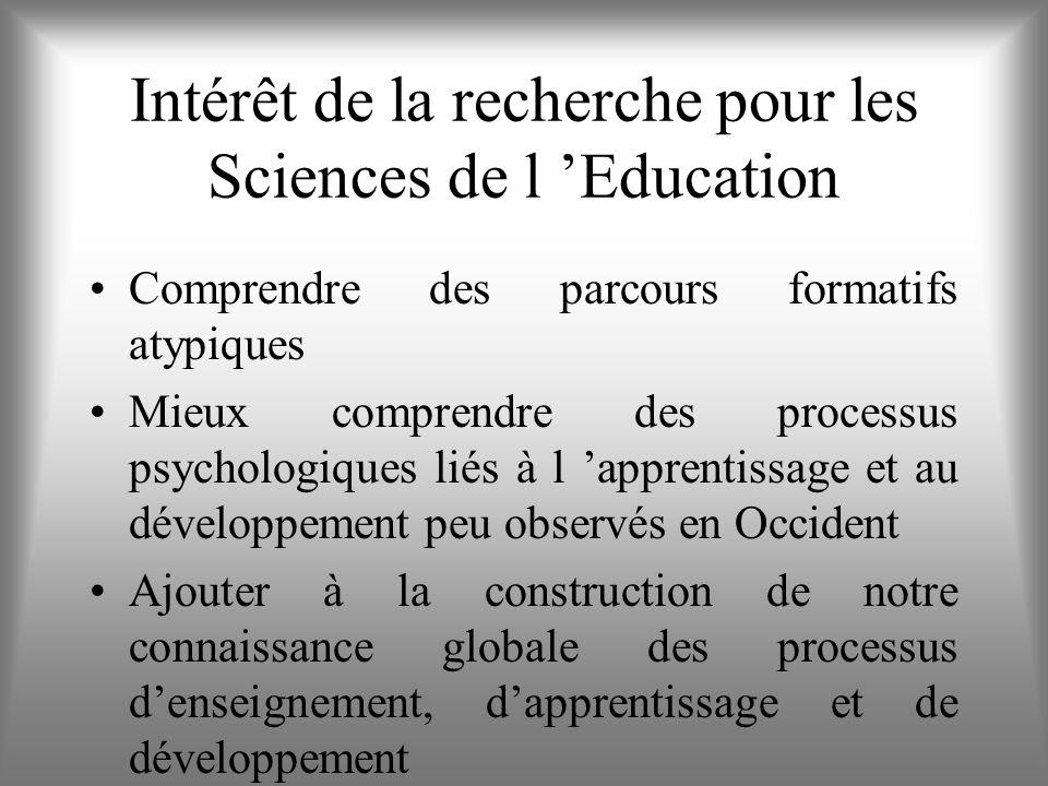 Intérêt de la recherche pour les Sciences de l 'Education