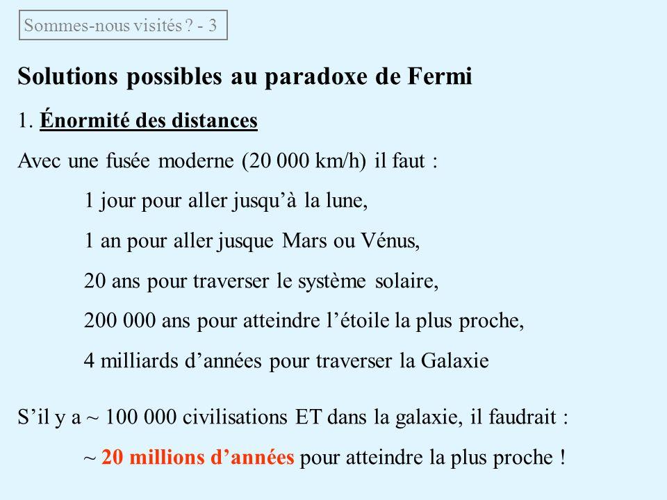 Solutions possibles au paradoxe de Fermi