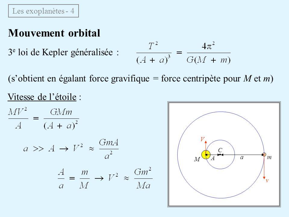 Mouvement orbital 3e loi de Kepler généralisée :