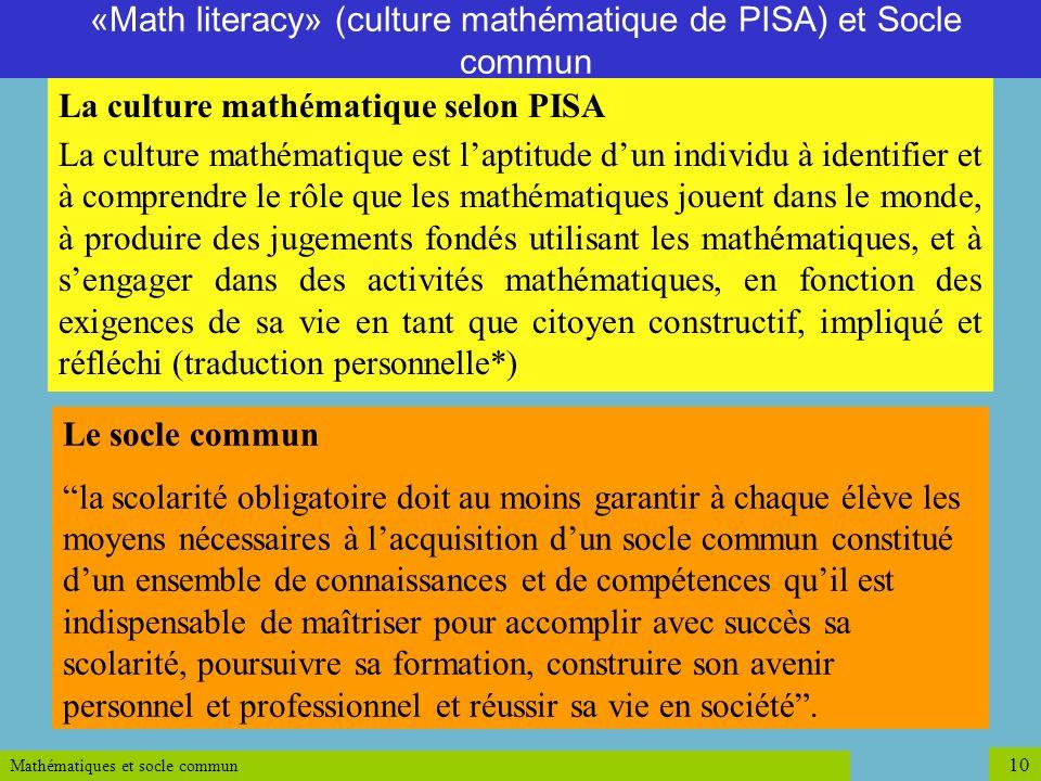 «Math literacy» (culture mathématique de PISA) et Socle commun