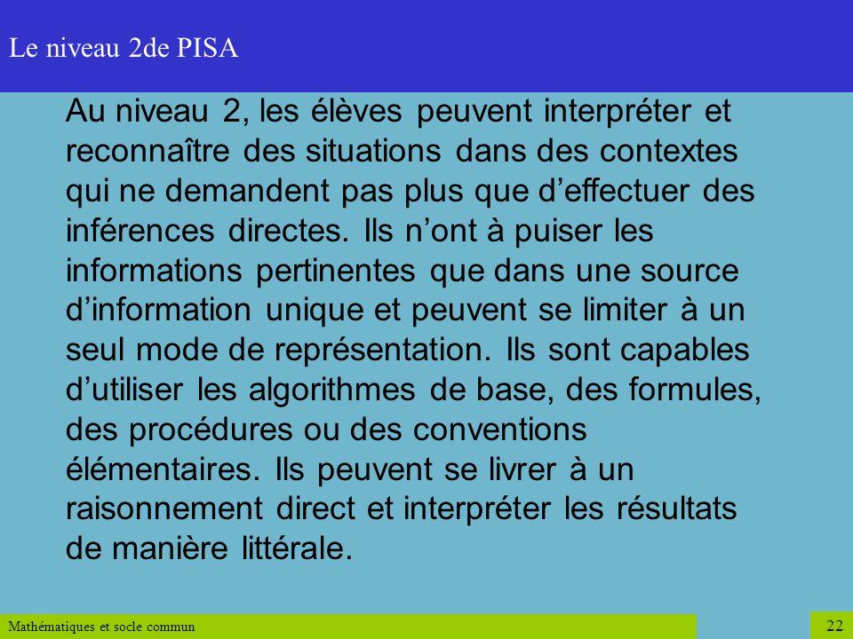 Le niveau 2de PISA Niveau 2.