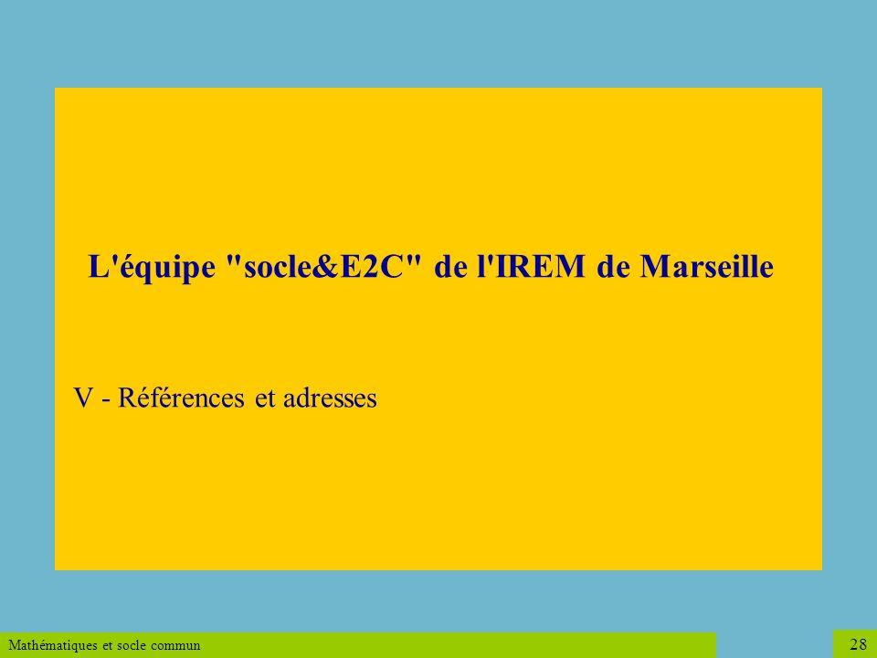 L équipe socle&E2C de l IREM de Marseille V - Références et adresses