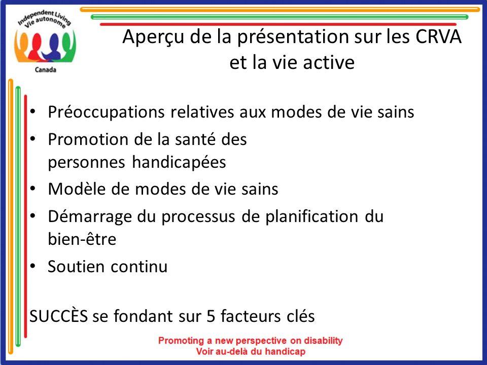 Aperçu de la présentation sur les CRVA et la vie active