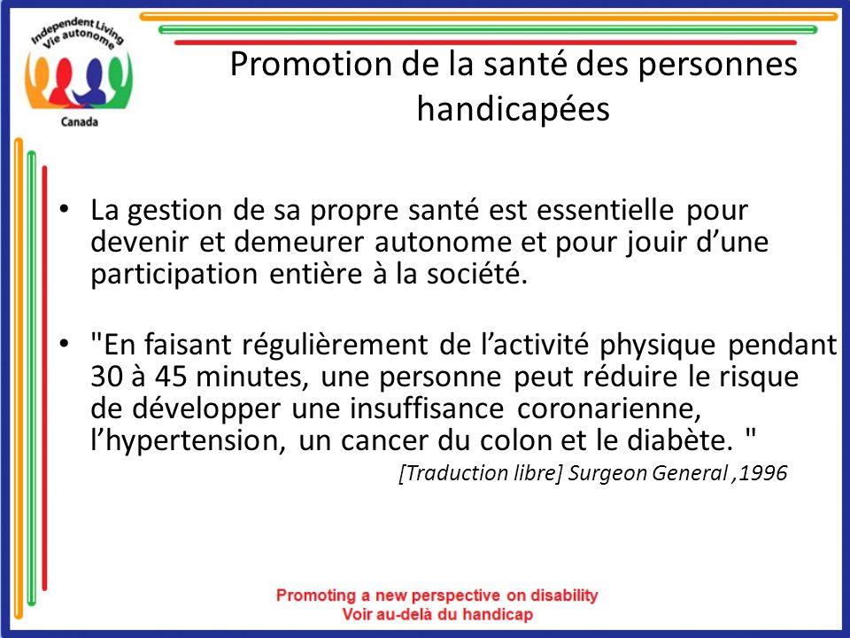Promotion de la santé des personnes handicapées