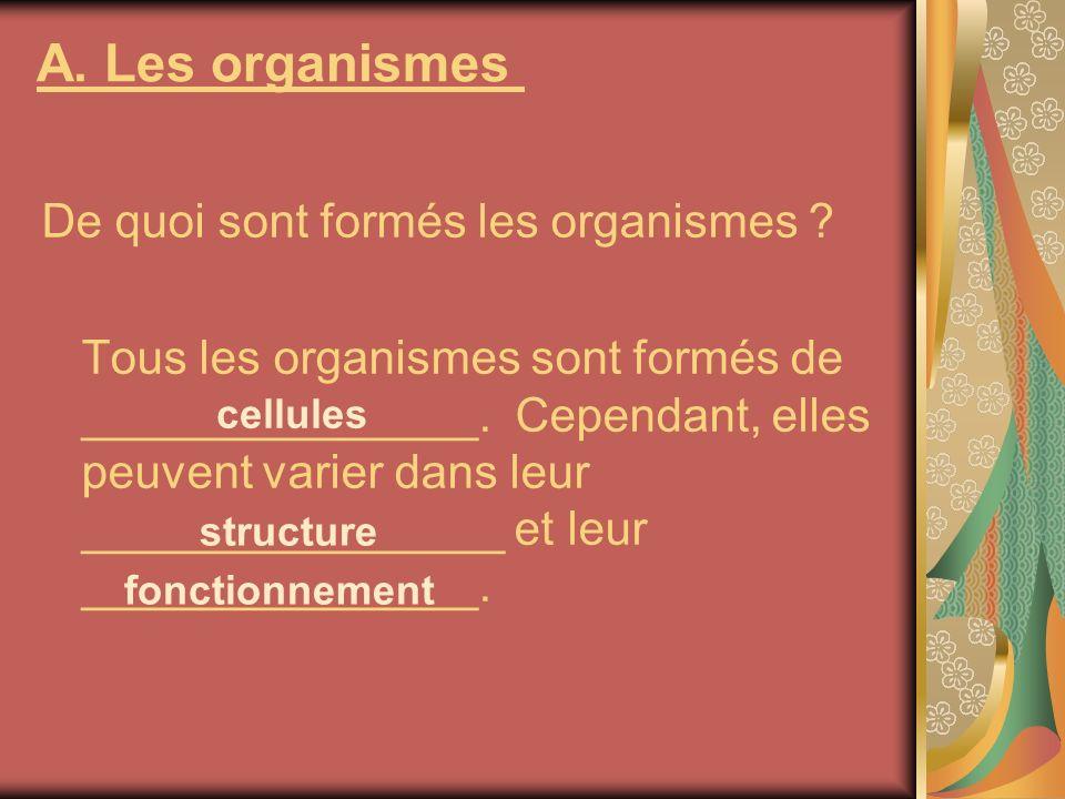 A. Les organismes De quoi sont formés les organismes