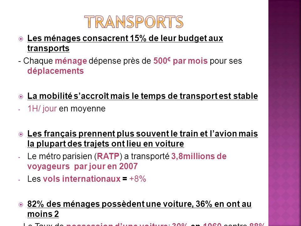 Transports Les ménages consacrent 15% de leur budget aux transports