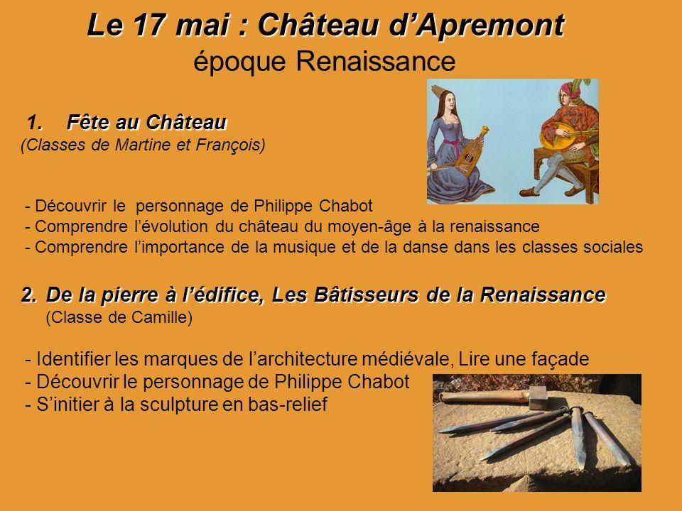 Le 17 mai : Château d'Apremont époque Renaissance