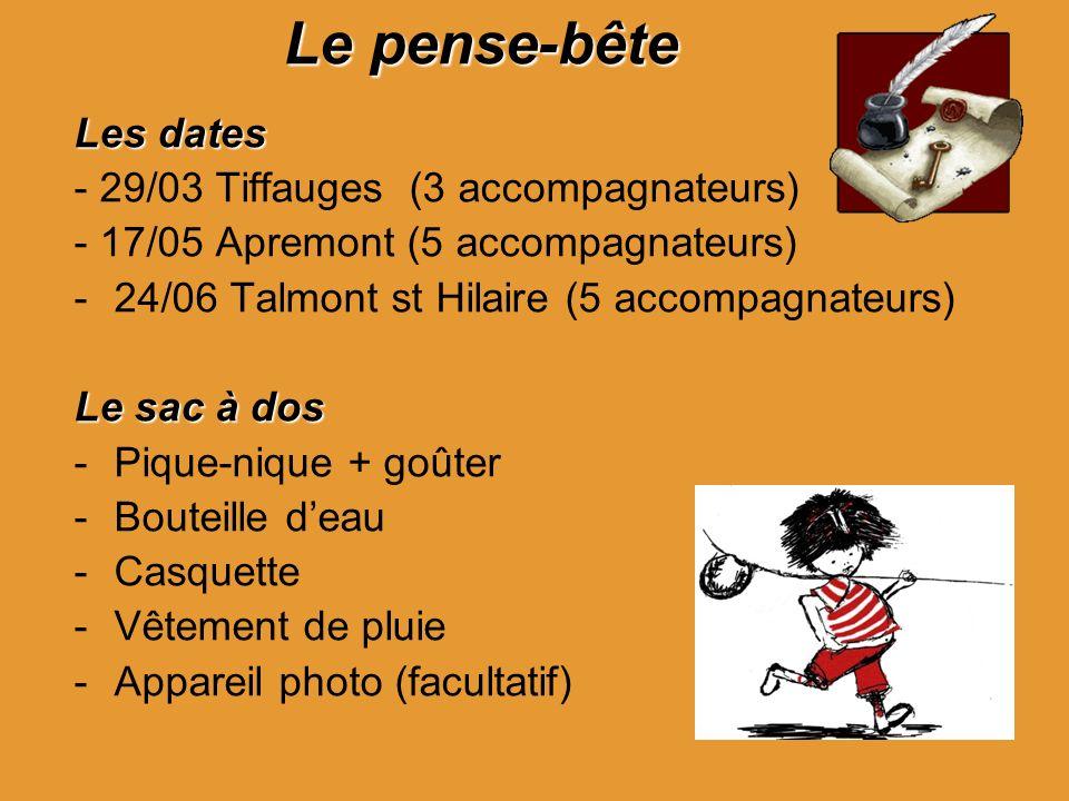 Le pense-bête Les dates - 29/03 Tiffauges (3 accompagnateurs)