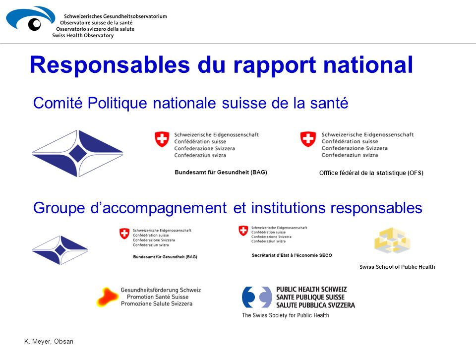 Responsables du rapport national