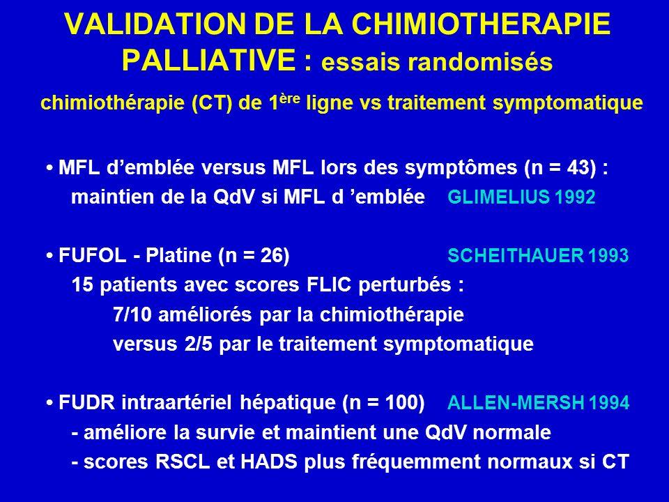 VALIDATION DE LA CHIMIOTHERAPIE PALLIATIVE : essais randomisés chimiothérapie (CT) de 1ère ligne vs traitement symptomatique