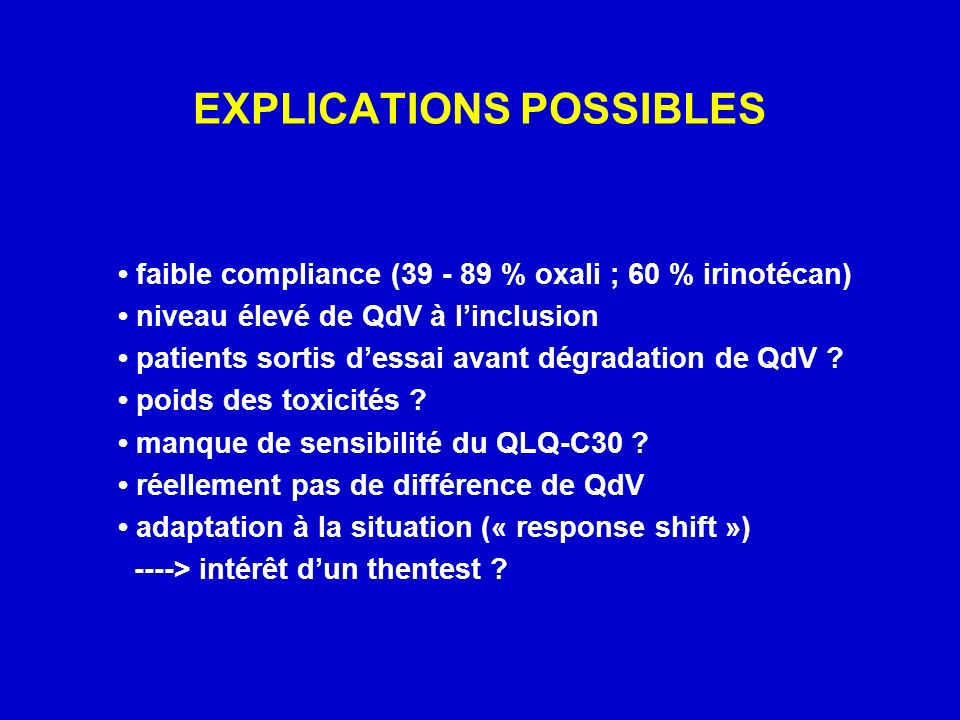 EXPLICATIONS POSSIBLES