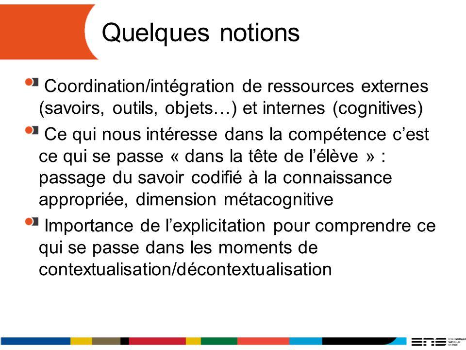Quelques notions Coordination/intégration de ressources externes (savoirs, outils, objets…) et internes (cognitives)