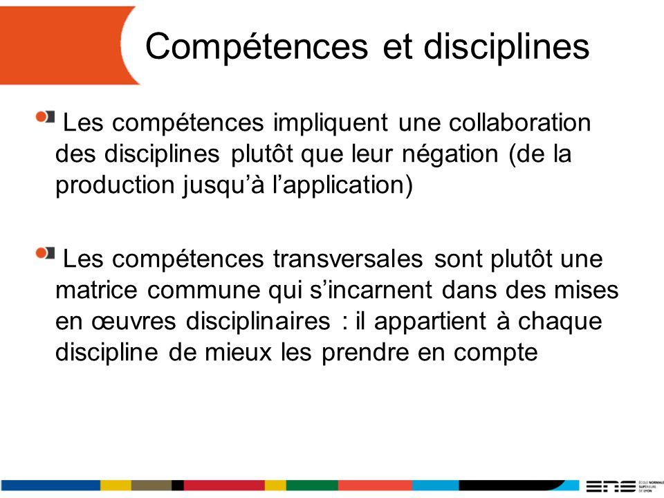 Compétences et disciplines