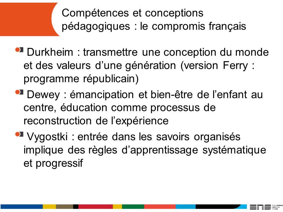 Compétences et conceptions pédagogiques : le compromis français