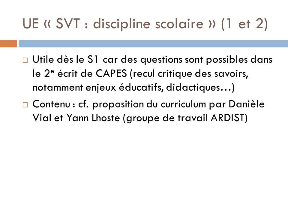 UE « SVT : discipline scolaire » (1 et 2)