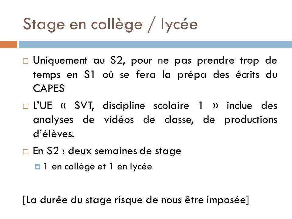 Stage en collège / lycée