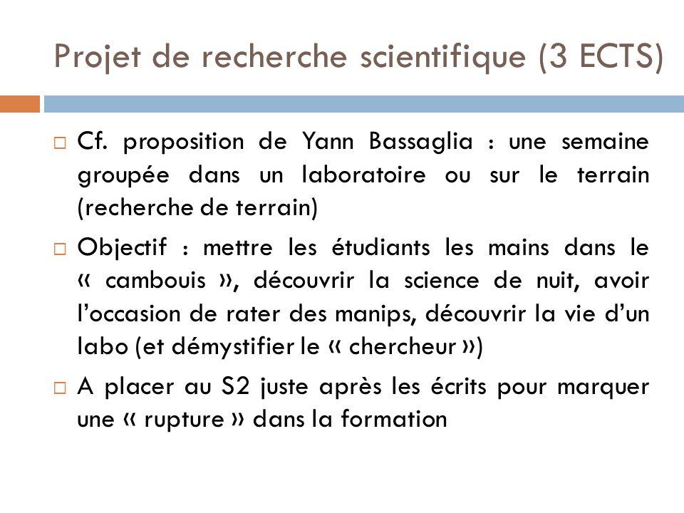 Projet de recherche scientifique (3 ECTS)