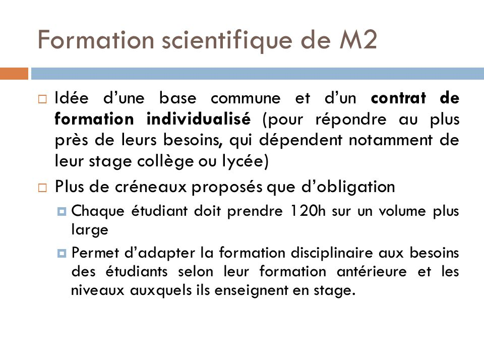 Formation scientifique de M2