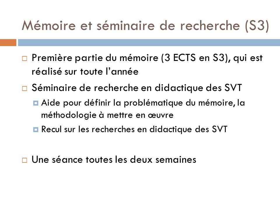 Mémoire et séminaire de recherche (S3)