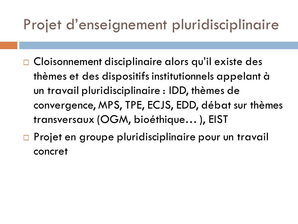 Projet d'enseignement pluridisciplinaire