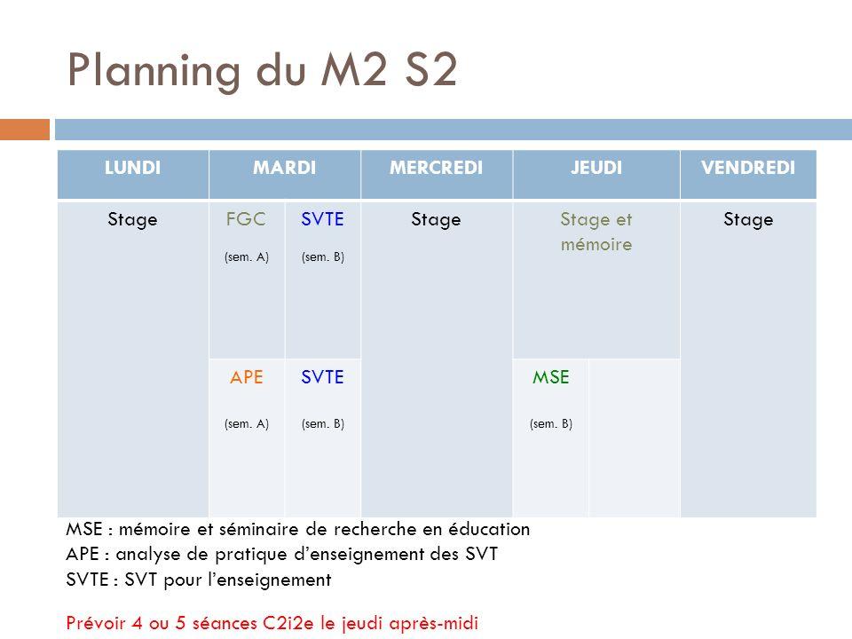Planning du M2 S2 LUNDI MARDI MERCREDI JEUDI VENDREDI Stage FGC SVTE