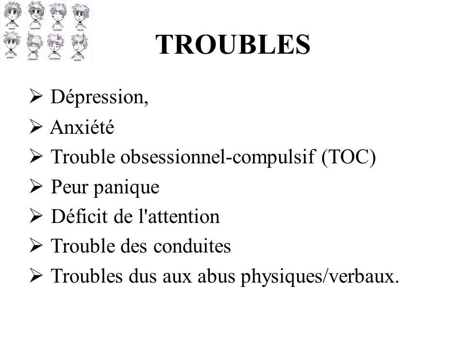 TROUBLES Dépression, Anxiété Trouble obsessionnel-compulsif (TOC)