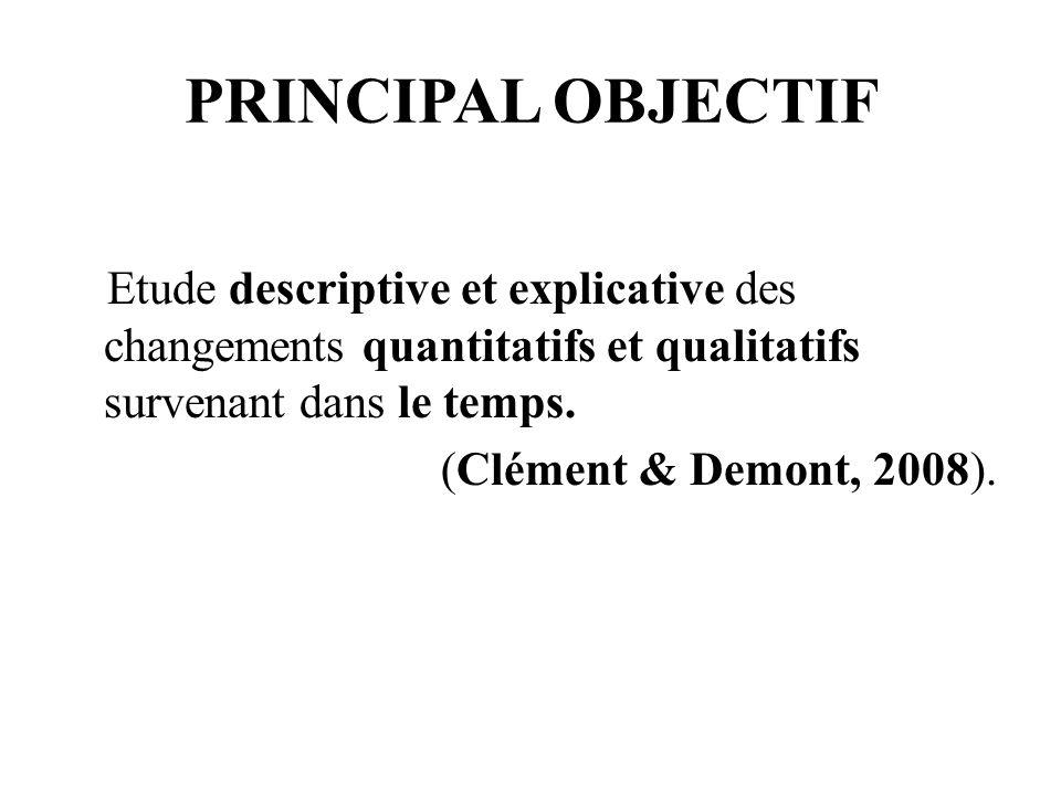 PRINCIPAL OBJECTIF Etude descriptive et explicative des changements quantitatifs et qualitatifs survenant dans le temps.