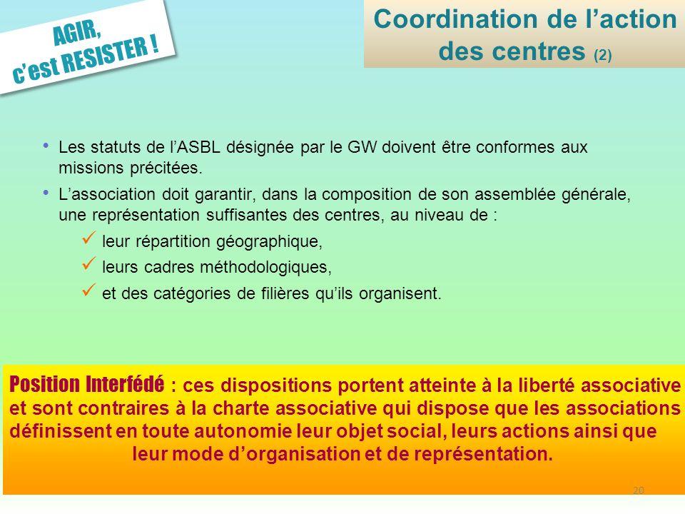 Coordination de l'action des centres (2)