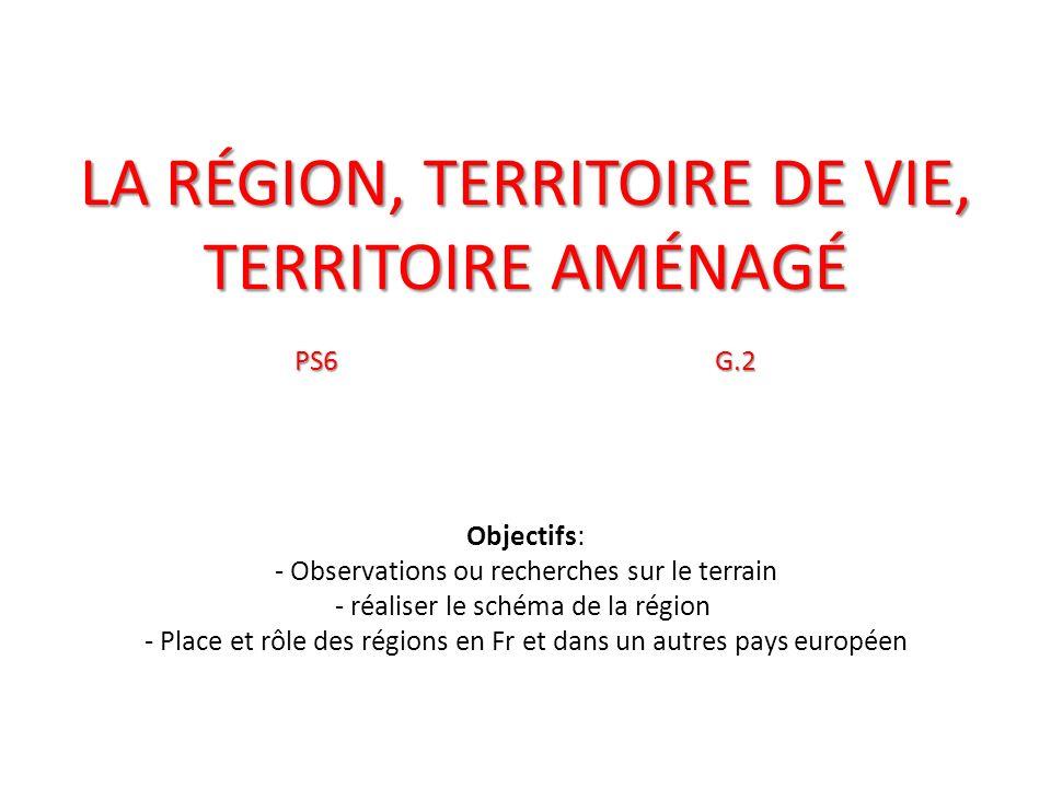La région, territoire de vie, territoire aménagé PS6. G