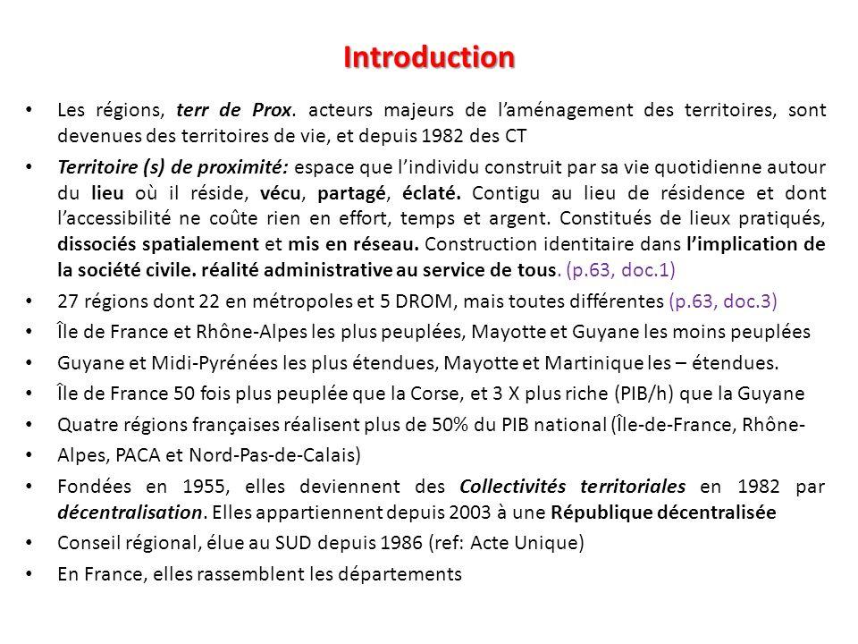 Introduction Les régions, terr de Prox. acteurs majeurs de l'aménagement des territoires, sont devenues des territoires de vie, et depuis 1982 des CT.