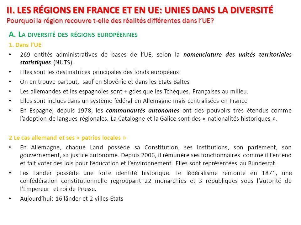 II. Les régions en France et en UE: Unies dans la diversité Pourquoi la région recouvre t-elle des réalités différentes dans l'UE