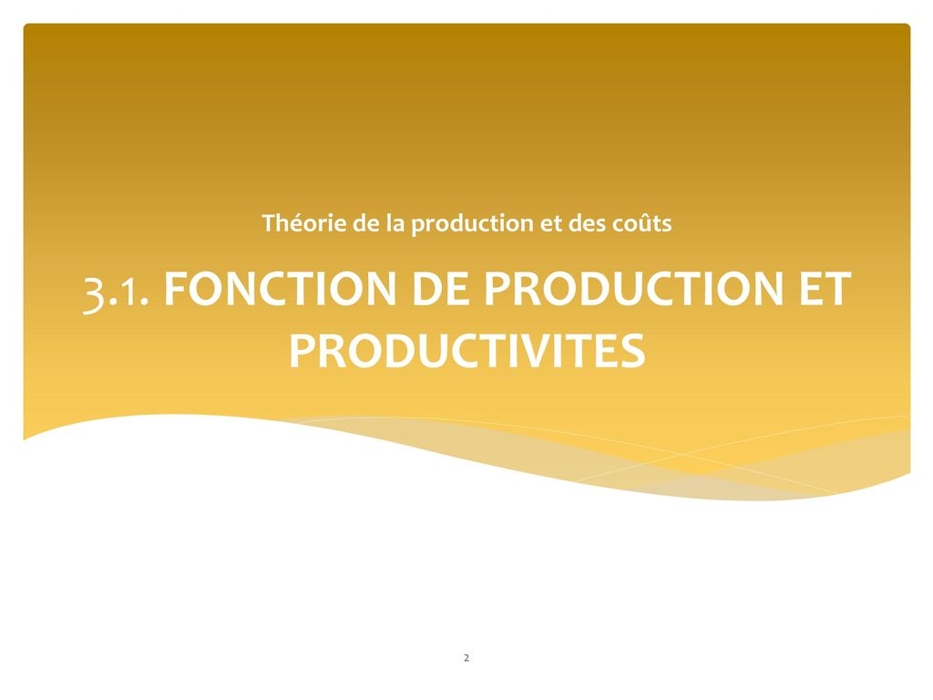3.1. FONCTION DE PRODUCTION ET PRODUCTIVITES