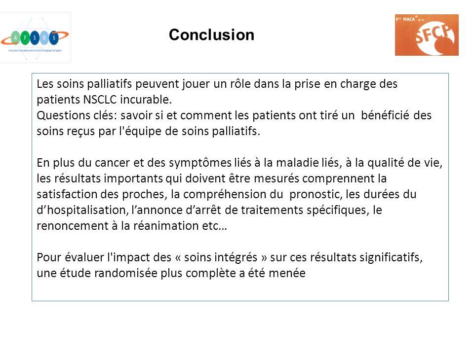 Conclusion Les soins palliatifs peuvent jouer un rôle dans la prise en charge des patients NSCLC incurable.