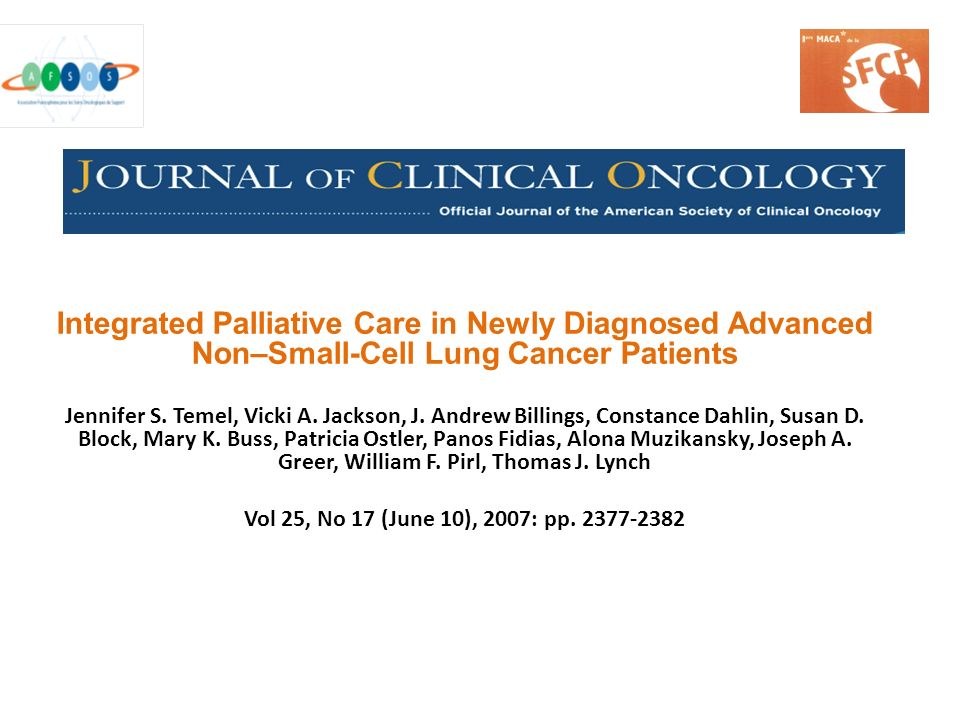 Integrated Palliative Care in Newly Diagnosed Advanced Non–Small-Cell Lung Cancer Patients