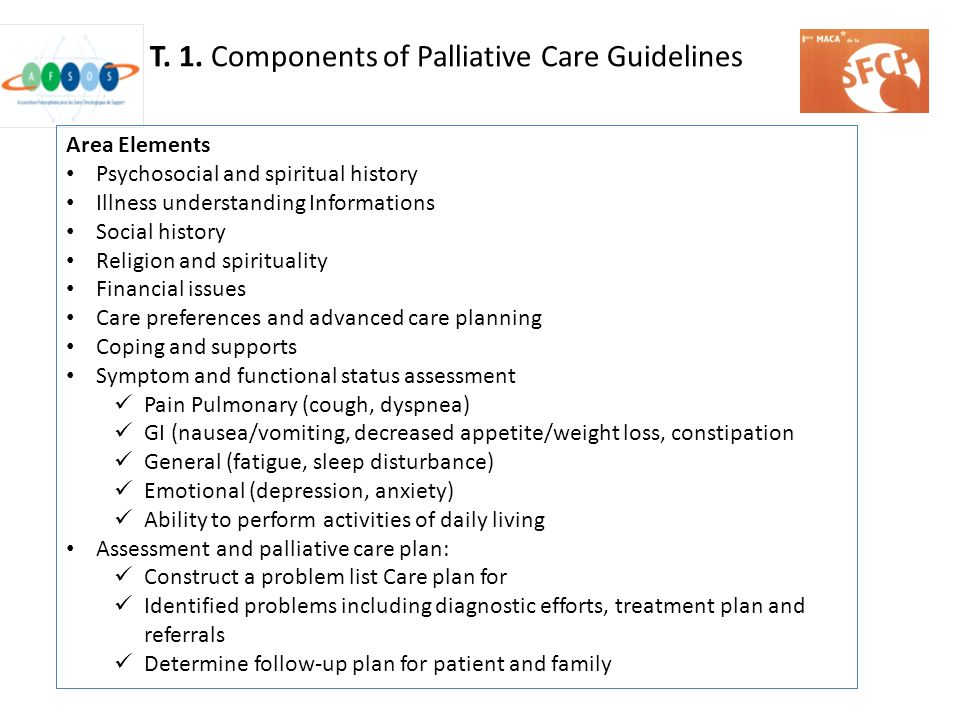 T. 1. Components of Palliative Care Guidelines