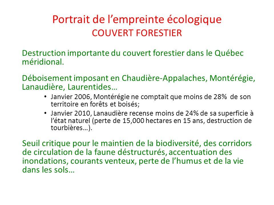 Portrait de l'empreinte écologique COUVERT FORESTIER