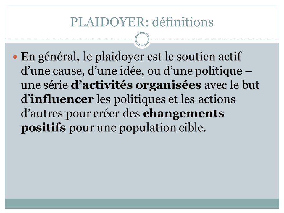PLAIDOYER: définitions