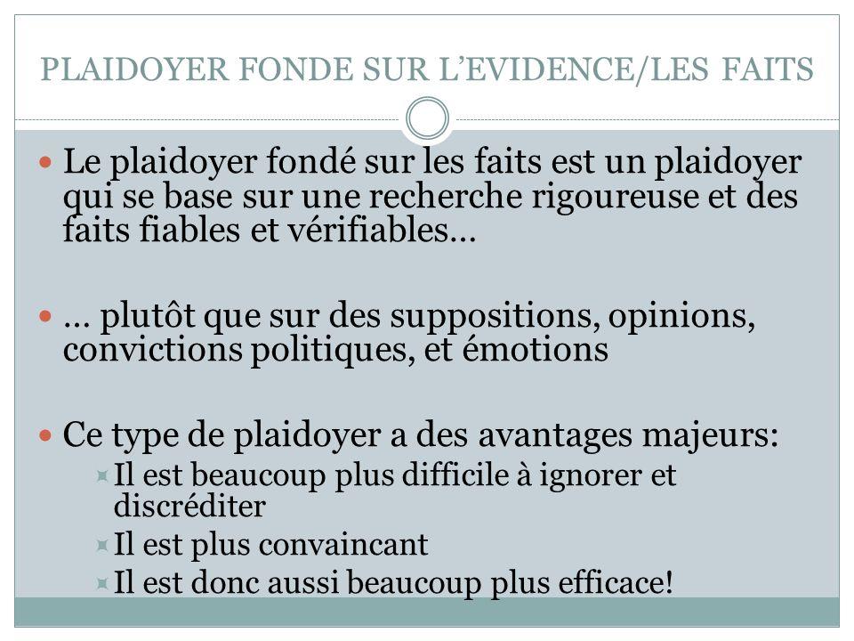 PLAIDOYER FONDE SUR L'EVIDENCE/LES FAITS