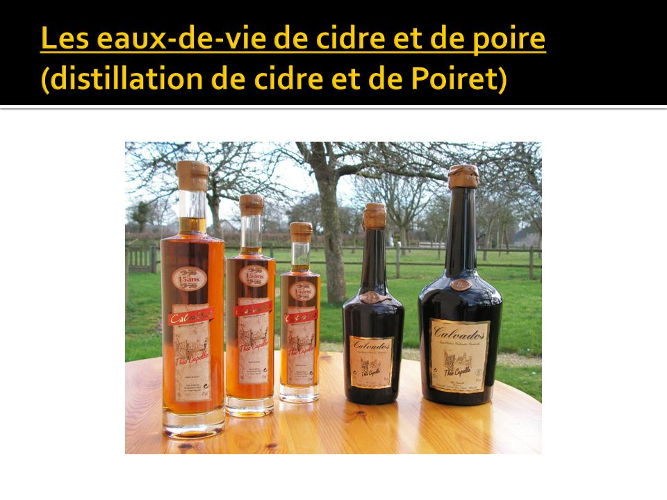 Les eaux-de-vie de cidre et de poire (distillation de cidre et de Poiret)