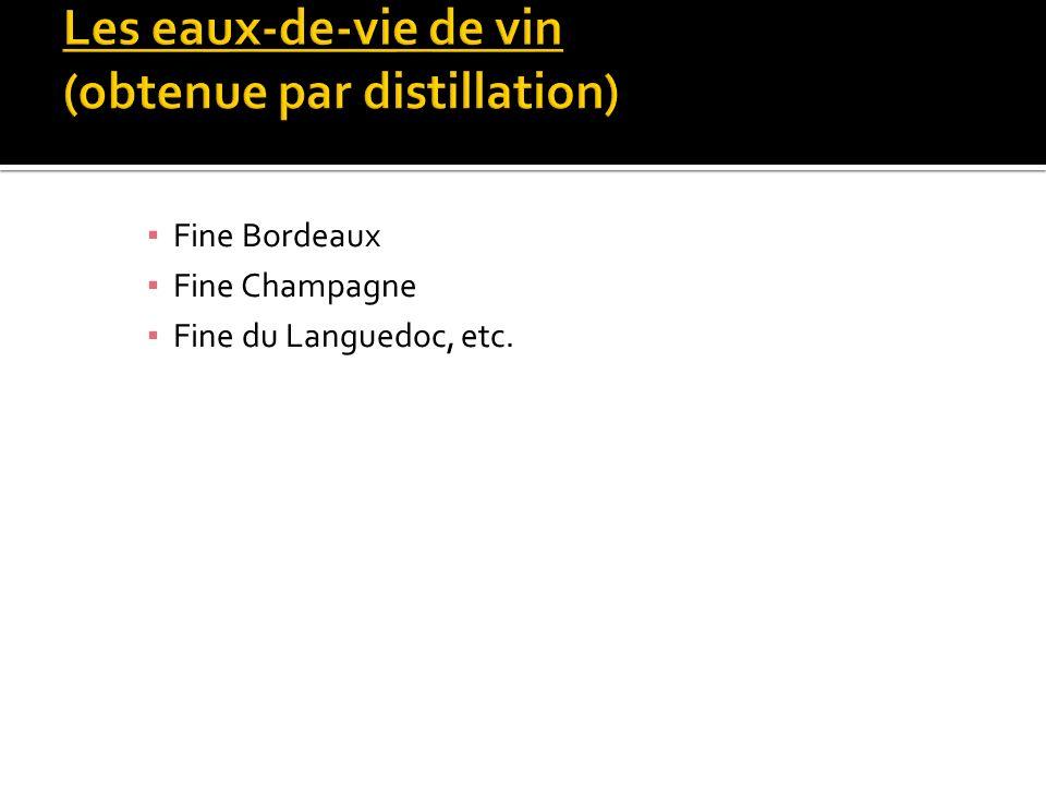 Les eaux-de-vie de vin (obtenue par distillation)