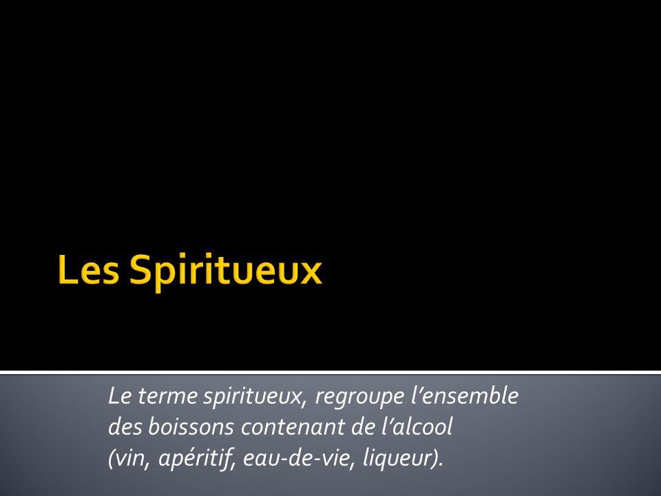 Les Spiritueux Le terme spiritueux, regroupe l'ensemble des boissons contenant de l'alcool.